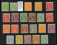 Lot 250:½d Green to 1/4d Blue most values represented with ½d orange Wmk inverted, 1d red (2), 3d blue, 4d orange, violet, blue & orange, 4½d & 5d. High retail. Mixed condition. (22)