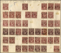 Lot 252 [2 of 3]:1½d Black-Brown/Browns etc, mostly Single Wmks on album page remainders with many varieties identified. Few perf 'OS' or 'OS/NSW'. Mixed condition. (500+)