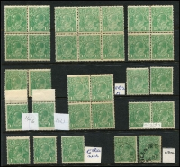 Lot 255:1½d Green 2 blocks of 4, one block of 6, a pair and 9 singles, mint or MUH, plus 6 no gum & 2 used. Mixed condition. (39)