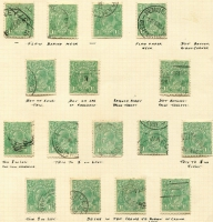 Lot 256 [2 of 3]:1½d Greens on used album pages with many varieties described. Few perf 'OS' or 'OS/NSW'. Mixed condition. (200+)