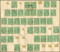 Lot 256 [3 of 3]:1½d Greens on used album pages with many varieties described. Few perf 'OS' or 'OS/NSW'. Mixed condition. (200+)