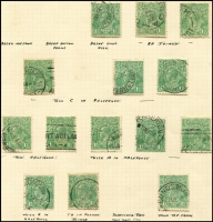 Lot 256 [1 of 3]:1½d Greens on used album pages with many varieties described. Few perf 'OS' or 'OS/NSW'. Mixed condition. (200+)