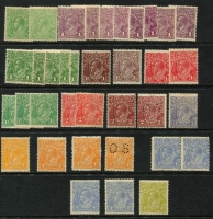 Lot 107 [2 of 2]:Accumulation incl 1d violet (8), 1½d green (3), 2d brown (2, one perf 'OS'), 3d blue, 4d orange (4, shades, one perf 'OS'), 4d blue (5 incl a pair, plus Cracked electro through Kangaroo [rounded corner]), 4d olive. Mixed condition. (37)