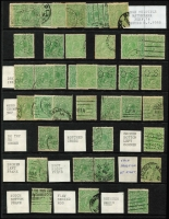 Lot 306 [2 of 2]:½d Green Accumulation with numerous minor varieties, some identified. Mixed condition. (130+)