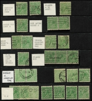 Lot 306 [1 of 2]:½d Green Accumulation with numerous minor varieties, some identified. Mixed condition. (130+)
