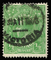Lot 534:½d Green Line Perf BW #64, used, Cat $900.