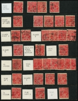 Lot 311 [2 of 3]:1½d Red Accumulation with numerous minor varieties identified, some dated examples, few perf 'OS'. Some postmark interest. Mixed condition. (Few 100)