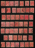 Lot 309 [3 of 3]:1d Red Accumulation with many dated examples, shades, few varieties, wmk inverteds, Die II (at least 5), few multiples, etc. Generally fine. (250+)
