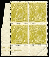Lot 321:4d Olive part ASH imprint block of 4, slight perf separation and unit [R55] has corner fault, BW #116z, Cat $320.