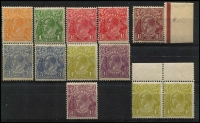 Lot 736 [2 of 2]:½d to 1/4d incl 3d x2, 4d olive x3 (incl marginal pair), 4½d violet x2, 1/4d greenish-blue. Many appear MUH. Also SM Wmk 13½x12½ 2d brown. Generally fine with mixed centring. (13)