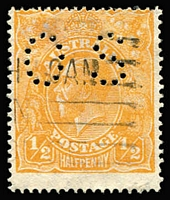 Lot 567:½d Orange perf 'OS', retail $225. BW #67ba.