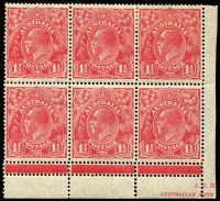 Lot 277:1½ Red part Mullett imprint block of 6 [L52-54/58-60], with additional line of horizontal perforations underneath the marginal line, lower 3 units are MUH. BW #91.