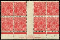 Lot 278:1½d Red Imprint Block Mullett imprint block of 8 [L53-54/59-60, R49-50/55-56] with unit R4-55 with 'ST' of POSTAGE' joined. 4 units MUH, BW #91(4)n, Cat $200. (8)