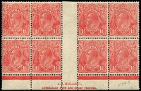 Lot 742:1½d Red Mullett imprint block of 8 [L53-54/59-60,R49-50/55-56] with Scratch in front of King's forehead & Void top right corner varieties BW #91(2)zb, four units MUH, Cat $425.