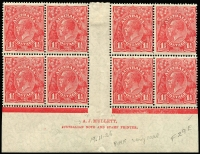 Lot 741:1½d Red Mullett imprint block of 8 with Distorted first 'A' of 'AUSTRALIA' BW #91(1a)za, 4 units MUH, Cat $1,750.