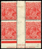 Lot 276 [2 of 2]:1½d Red Imprint Blocks incl ASH 'N over A' block of 4, Mullett part imprint Plate 2 block of 4 [L54/60-R49-55] with Scratch in front of King's head ACSC91(2)f. Slight perf separation. (8)