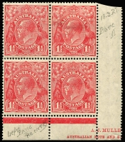 Lot 276 [1 of 2]:1½d Red Imprint Blocks incl ASH 'N over A' block of 4, Mullett part imprint Plate 2 block of 4 [L54/60-R49-55] with Scratch in front of King's head ACSC91(2)f. Slight perf separation. (8)
