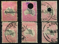 Lot 192:10/- Group incl 1st wmk 10/- optd 'Specimen', 3rd wmk 10/- Telegraph cancel, SM wmk 10/- Telegraph cancel, CofA 10/- (3), some faults throughout. (6)
