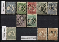 Lot 269 [2 of 2]:1st Wmk 2½d mint, used perf Large 'OS' ½d, 1d, 2d, 6d Ultramarine, 9d, 1/- & 2/- brown, 3rd Wmk 2d grey mint, SM Wmk 6d chestnut (2 mint, one opt 'OS'), mixed centring, some hinge remains, perf faults and odd tone spot throughout. (11)