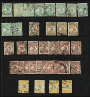 Lot 193 [1 of 4]:Accumulation with mixed wmks incl 3d olive (11), 4d orange (2), 5d brown (4), 6d blue (12), brown (6), 2/- brown (4), 5/- (4, one SM wmk, three CofA wmk). Mixed condition. (140+)