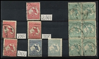 Lot 246 [2 of 2]:Collection incl 1st Wmk 1d (5, incl Cut throat [BW 4(G)l], 4 others, all minor varieties) all used, 2½d MLH, 1/- block of 6 used (possibly re-inforced), SM Wmk 1/- MLH, centred right and few tone spots. Mixed condition. (13)