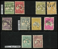 Lot 271 [2 of 2]:Perf Small 'OS' Group incl 1st Wmk ½d, 1d, 2½d, 3d, 4d orange, 9d, 3rd Wmk 6d ultra, 5/-, 10/-, SM Wmk 1/-, 2/- maroon. Several issues are CTO. Mixed condition. (11)