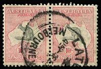 Lot 261:10/- Grey & Pink horizontal pair, heavy 'LAT(E FEE)/MELBOURNE' cds, few short perfs. BW #50A, Cat $600.