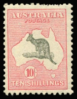 Lot 589:10/- Grey & Pink BW #50, few short perfs at top, otherwise fine. Retail $575.