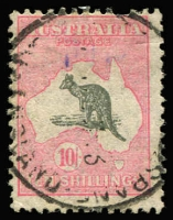 Lot 228:10/- Grey & Pink BW #50, used with a short perf at top, Cat $275.