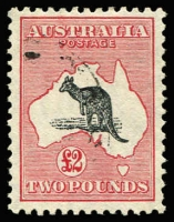 Lot 594:£2 Grey & Rose-Crimson unlisted variety Curled tail with hairline from top of neck to foreleg [R6] BW #58A, fine used, Cat $850+. Ex Hardy.