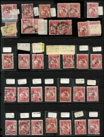 Lot 273 [2 of 2]:1d Red Accumulation with numerous minor varieties identified, some dated examples, few multiples, also a page of ½d (12) & 1d (50) unchecked for varieties. Some postmark interest. Mixed condition. (158)