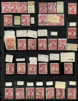 Lot 273 [1 of 2]:1d Red Accumulation with numerous minor varieties identified, some dated examples, few multiples, also a page of ½d (12) & 1d (50) unchecked for varieties. Some postmark interest. Mixed condition. (158)