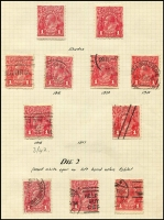 Lot 274 [2 of 5]:Collection on leaves with ½d green (10, incl 2 MLH), orange (9, incl block of 4 [2 units MUH] & single with wmk inv), 1d red Die I (37, incl 12 mint), Die II (14), 1d violet (19, incl 8 mint), 4d blue Harrison wmk inv example ([3L1], MLH). Many shades, papers, varieties incl 'NY joined', 'Secret Mark', 'Run N', etc. Most stamps identified with sheet position. Generally very fine.
