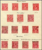 Lot 274 [3 of 5]:Collection on leaves with ½d green (10, incl 2 MLH), orange (9, incl block of 4 [2 units MUH] & single with wmk inv), 1d red Die I (37, incl 12 mint), Die II (14), 1d violet (19, incl 8 mint), 4d blue Harrison wmk inv example ([3L1], MLH). Many shades, papers, varieties incl 'NY joined', 'Secret Mark', 'Run N', etc. Most stamps identified with sheet position. Generally very fine.