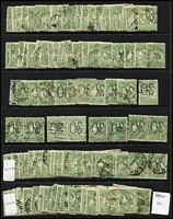 Lot 215:½d Green Perf Large 'OS' BW #1bc x150 incl singles & pairs, generally fine. (150)
