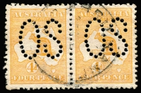 Lot 504 [1 of 2]:½d to 2/- Perf Large 'OS' with ½d, 1d, 2d, 3d & 4d in horizontal pairs. Listed retail $950+. Variable condition. (16)
