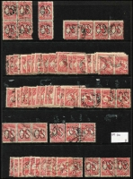 Lot 170 [2 of 5]:1d Red Perf Large 'OS' BW #2ba x400 approx in singles, pairs or strips, generally fine. (c.400)