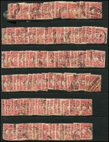 Lot 170 [3 of 5]:1d Red Perf Large 'OS' BW #2ba x400 approx in singles, pairs or strips, generally fine. (c.400)
