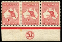 Lot 507:1d Red 'JBC' Monogram in strip of 3, BW #3(F)zb, toned, Cat $1,500.