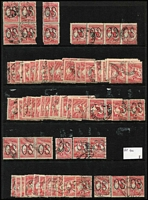 Lot 218 [2 of 3]:1d Red Perf Large 'OS' BW #2ba x400 approx in singles, pairs or strips, generally fine. (Approx 400)