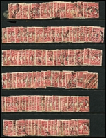 Lot 218 [3 of 3]:1d Red Perf Large 'OS' BW #2ba x400 approx in singles, pairs or strips, generally fine. (Approx 400)