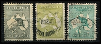Lot 61:2d, 3d & 1/- all with wmk inverted. (3)