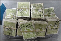 Lot 202:3d Olive in bundles of 100 & one bundle of 50. Rare in this quantity. (1,050)