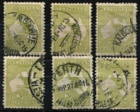 Lot 219 [2 of 2]:3d Olive Wmk inverted BW #12a, noted rare 'Ida.H' (WA) cancel, generally fine . (7)