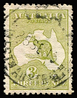 Lot 219 [1 of 2]:3d Olive Wmk inverted BW #12a, noted rare 'Ida.H' (WA) cancel, generally fine . (7)