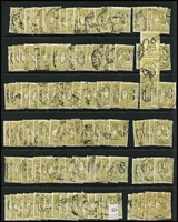 Lot 173:3d Olive Perf Large 'OS' BW #12ba, mostly in singles, generally fine. (150)