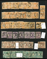 Lot 269:4d Orange Perf Large 'OS' (57), small 'OS' (2), 5d Chestnut perf large 'OS' (10), small 'OS' (2), 9d violet perf large 'OS' (7), 1/- green perf large 'OS' (18), generally fine. (96)