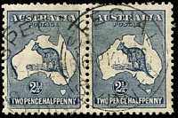 Lot 526:2½d Indigo horizontal pair, one unit showing Very heavy coastline to WA, BW #10(2)da.