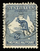 Lot 525 [2 of 4]:2½d Indigo showing 4 listed varieties (i) Retouched 'A', (ii) Islands of WA, (iii) Heavy Coastline to WA, (iv) Islands off Cape York. Generally fine. BW #10(2)d,f,g,l, Cat $550. (4)
