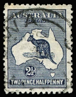 Lot 525 [3 of 4]:2½d Indigo showing 4 listed varieties (i) Retouched 'A', (ii) Islands of WA, (iii) Heavy Coastline to WA, (iv) Islands off Cape York. Generally fine. BW #10(2)d,f,g,l, Cat $550. (4)